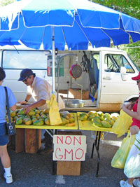vendor selling non-GMO papayas